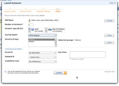 AWS Management Console EC2 instance configuration