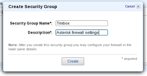 AWS Management Console security group detail