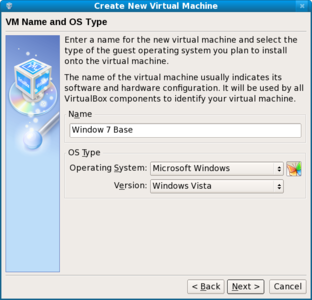 VirtualBox create new virtual machine