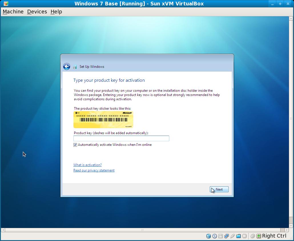 Installing Windows 7 on VirtualBox